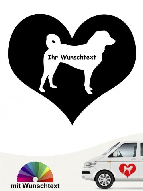 Appenzeller Sennenhund Silhouette im Herz mit Namen anfalas.de