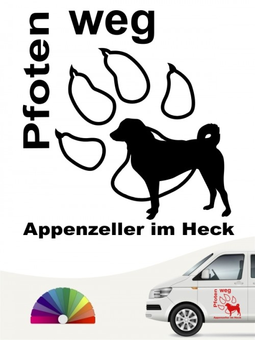 Pfoten weg Appenzeller Sennenhund im Heck Autoaufkleber anfalas.de
