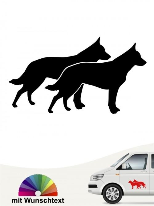Doppelter Cattle Dog Aufkleber mit Wunschtext anfalas.de