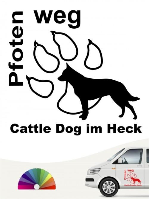 Pfoten weg Cattle Dog im Heck Aufkleber anfalas.de