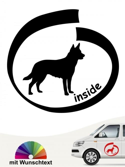 Australian Kelpie inside Autoaufkleber mit Wunschtext anfalas.de