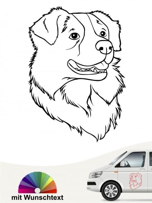 Australian Shepherd Kopfmotiv mit wunschtext anfalas.de