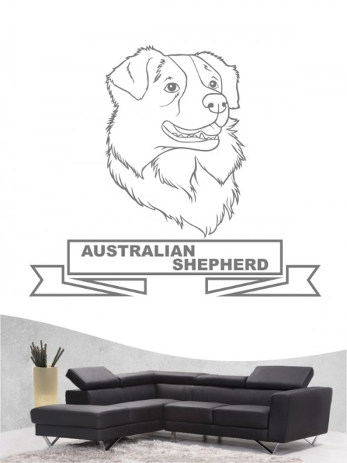 Hunde-Wandtattoo Australian Shepherd 16 von Anfalas.de