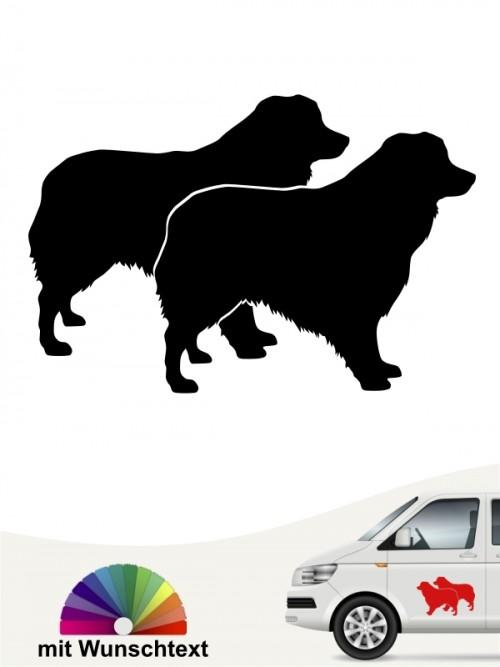 Australian Shepherd doppel Silhouette mit Wunschname anfalas.de