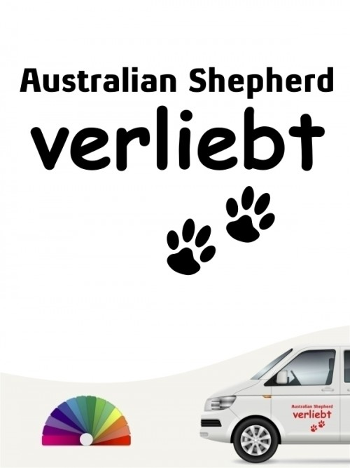 Hunde-Autoaufkleber Australian Shepherd verliebt von Anfalas.de