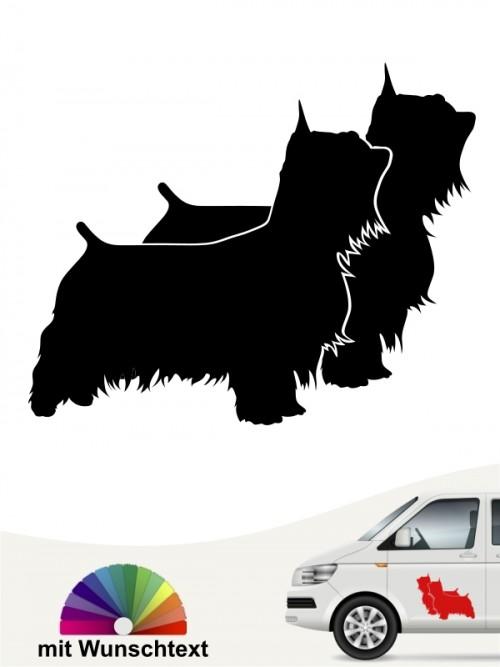 Australian Silky Terrier doppelte Silhouette mit Text anfalas.de