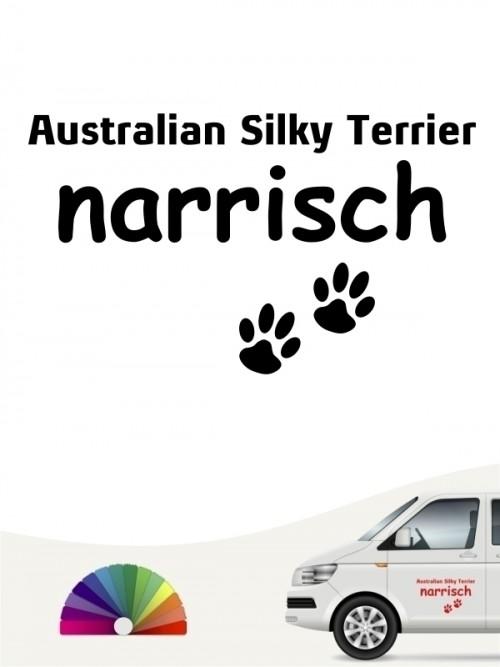 Hunde-Autoaufkleber Australian Silky Terrier narrisch von Anfalas.de