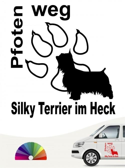 Pfoten weg Silky Terrier im Heck Hundeaufkleber anfalas.de