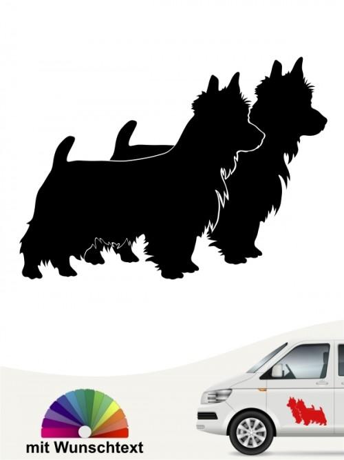 Australian Terrier doppel Silhouette Hundeaufkleber mit Text anfalas.de