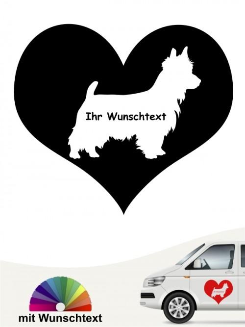 Australian Terrier Herzmotiv Autoaufkleber mit Wunschtext anfalas.de
