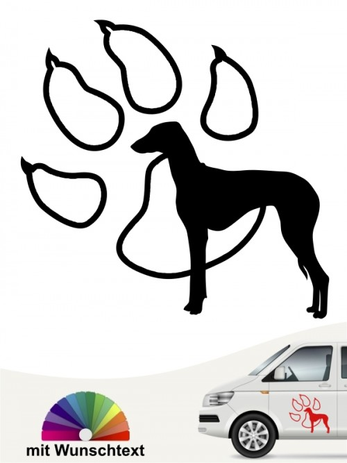 Azawakh Hundeaufkleber mit Wunschtext anfalas.de