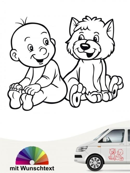 Hunde-Autoaufkleber Kind & Hund 1 von Anfalas.de