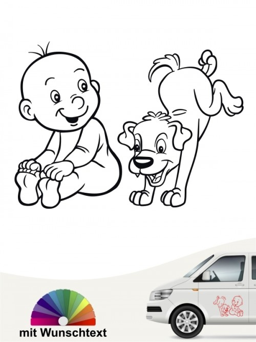 Hunde-Autoaufkleber Kind & Hund 20 von Anfalas.de