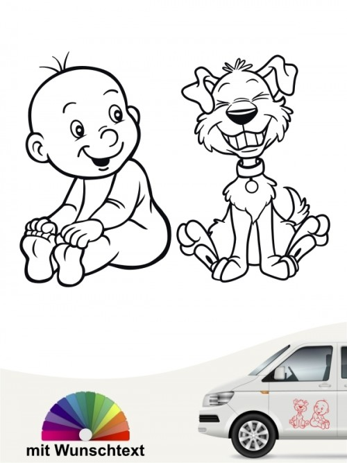 Hunde-Autoaufkleber Kind & Hund 21 von Anfalas.de