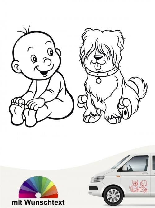 Hunde-Autoaufkleber Kind & Hund 24 von Anfalas.de