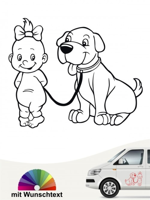 Hunde-Autoaufkleber Kind & Hund 6 von Anfalas.de