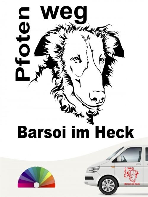 Pfoten weg Aufkleber Barsoi Kopf anfalas. de