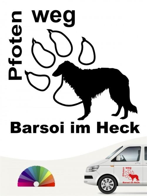 Barsoi Pfoten weg Heckscheibenaufkleber anfalas.de