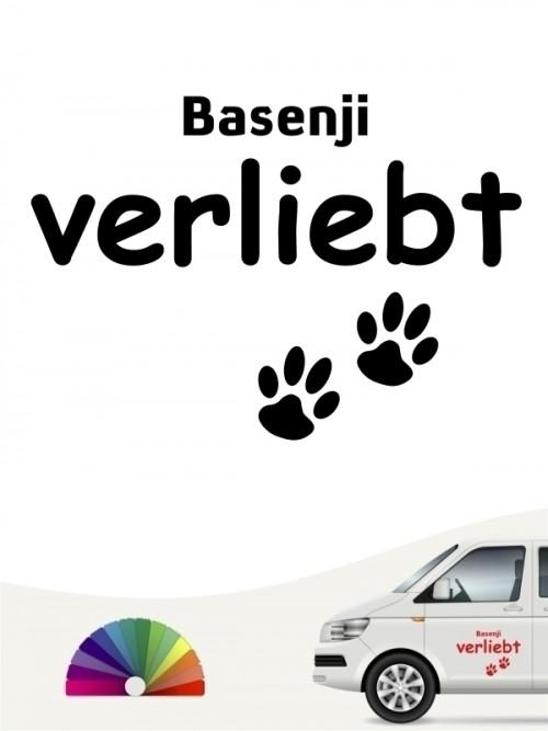 Hunde-Autoaufkleber Basenji verliebt von Anfalas.de