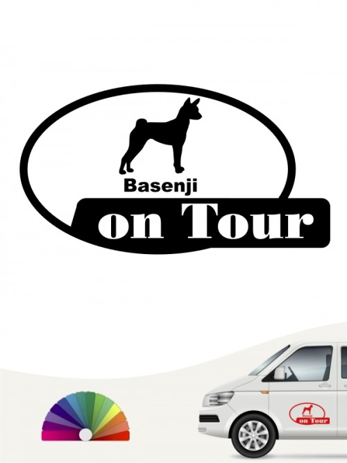 Basenji on Tour Autosticker anfalas.de