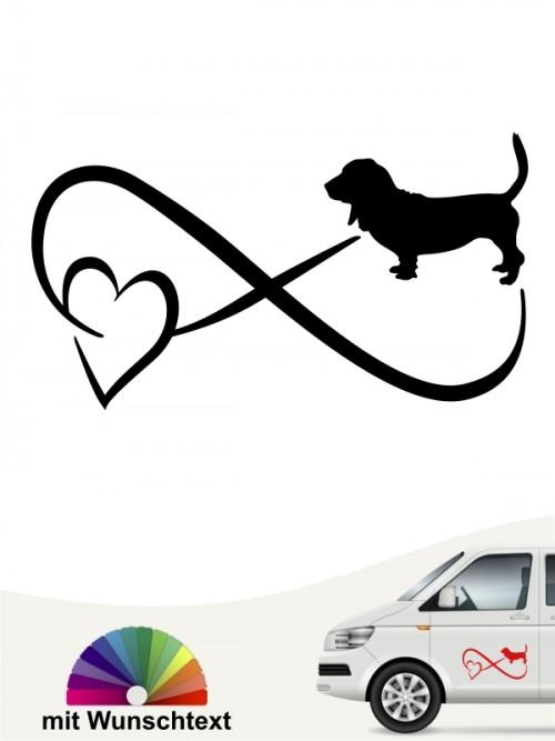 Basset Hound  Autoaufkleber mit Wunschtext von anfalas.de