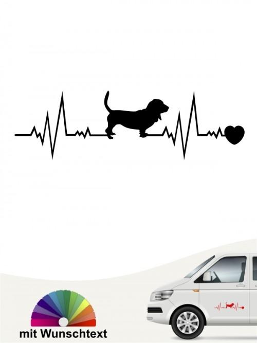 Basset Hound Hundeaufkleber mit Wunschtext von anfalas.de