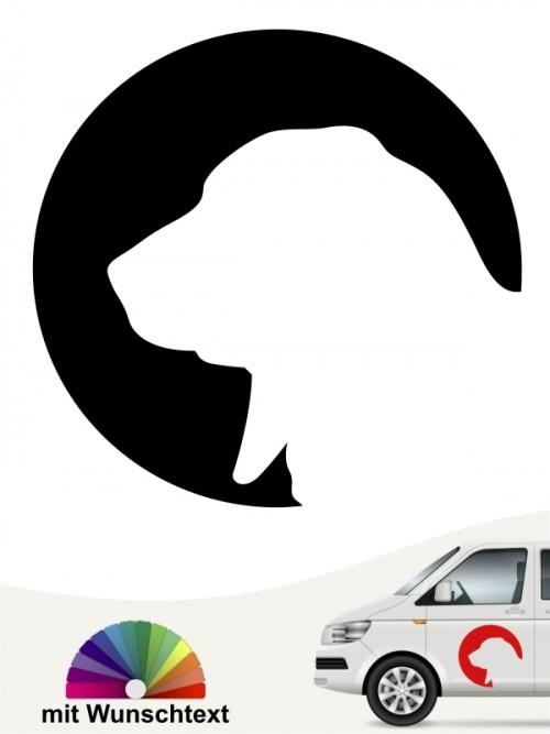 Basset Hound Hundeufkleber mit Wunschtext anfalas.de