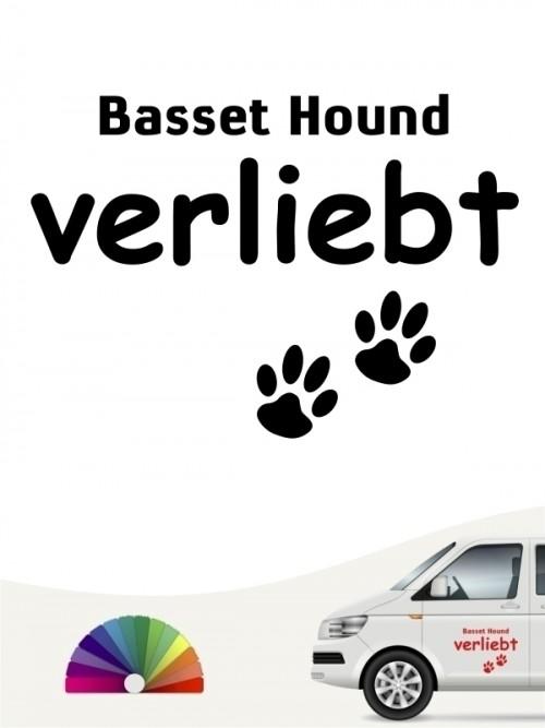 Hunde-Autoaufkleber Basset Hound verliebt von Anfalas.de