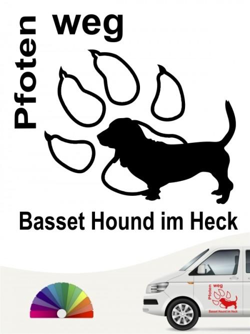 Basset Hound Pfoten weg Heckscheibenaufkleber anfalas.de