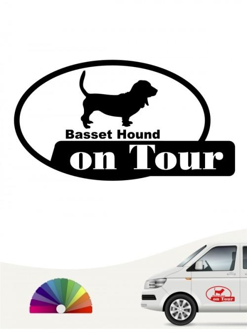 Basset Hound on Tour Heckscheibenaufkleber anfalas.de