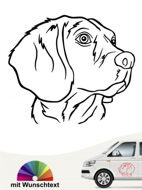 Beagle Kopf Heckscheibenaufkleber mit Text anfalas.de