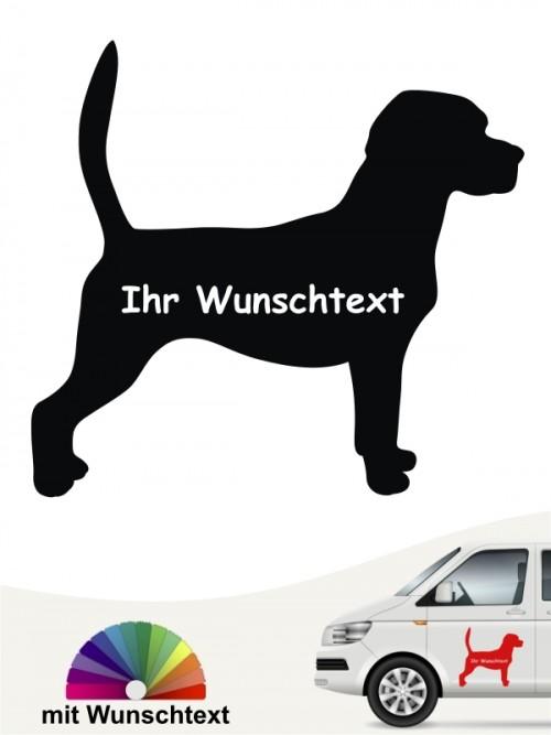 Beagle Aufkleber Silhouette mit Wunschtext anfalas.de