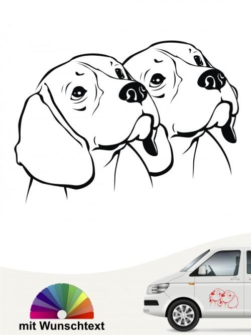 Doppelte Beagle Köpfe Heckscheibenaufkleber mit Wunschtext  anfalas.de