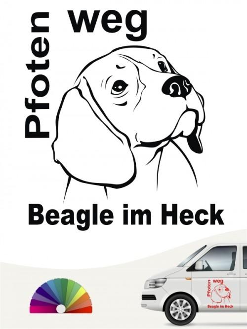 Pfoten weg Beagle im Heck Aufkleber anfalas.de