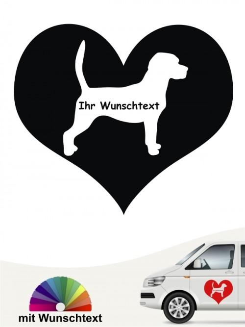 Beagle Silhouette im Herz Autoaufkleber anfalas.de