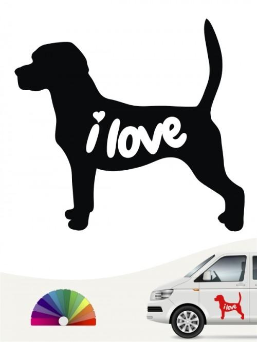 Beagle i love Aufkleber anfalas.de