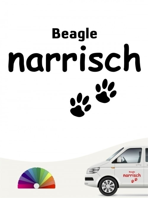 Hunde-Autoaufkleber Beagle narrisch von Anfalas.de