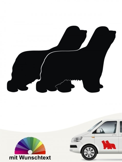 Bearded Collie doppel Silhouette Autoaufkleber anfalas.de