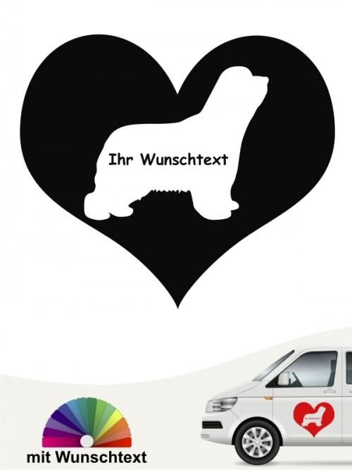 Bearded Collie Silhouette im Herz mit Text anfalas.de