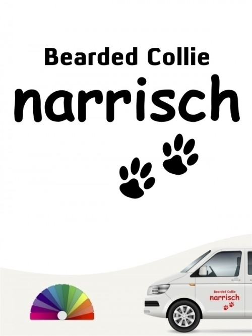 Hunde-Autoaufkleber Bearded Collie narrisch von Anfalas.de