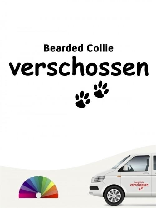 Hunde-Autoaufkleber Bearded Collie verschossen von Anfalas.de