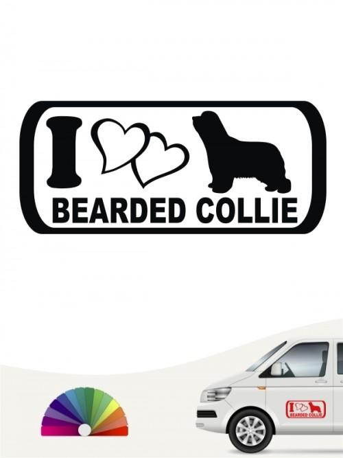 I Love Bearded Collie Aufkleber anfalas.de