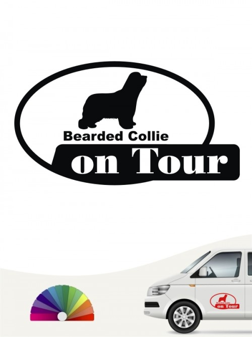 Bearded Collie on Tour Autoaufkleber anfalas.de