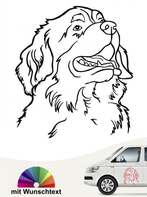 Berner Sennenhund Kopf Autosticker mit Wunschtext anfalas.de