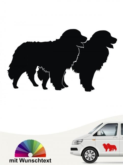 Berner Sennenhund doppel Silhouette Aufkleber anfalas.de