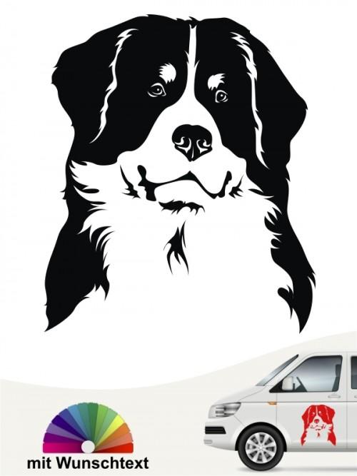 Berner Sennenhund Kopf Heckscheibenaufkleber mit Text anfalas.de