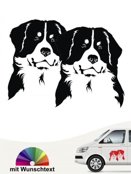 Berner Sennenhund doppelte Köpfe Aufkleber anfalas.de
