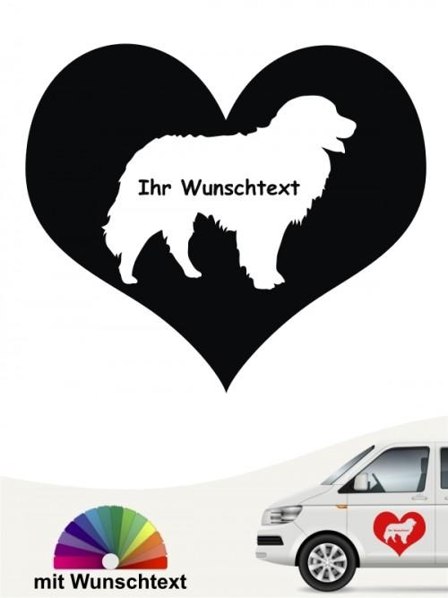 Berner Sennenhund Herzmotiv mit Wunschtext anfalas.de