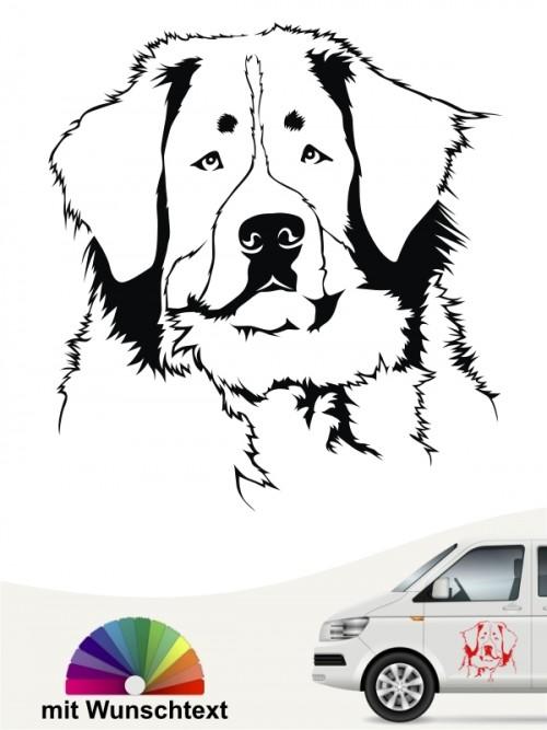 Berner Sennenhund Kopf Aufkleber mit Wunschtext anfalas.de