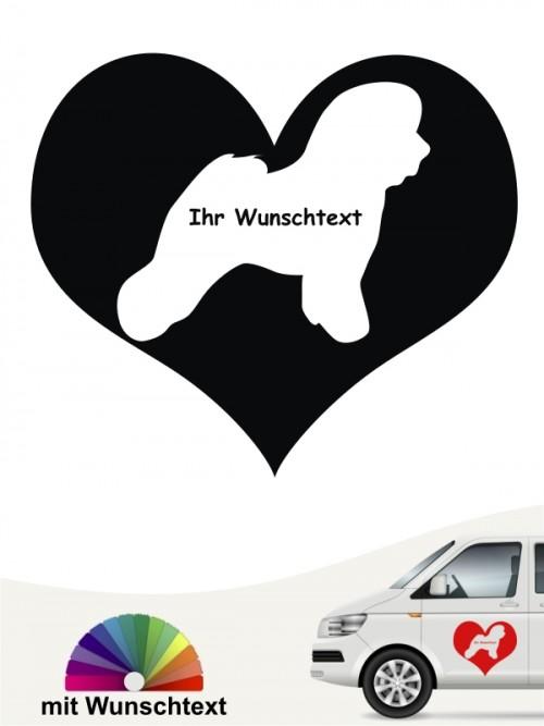 Bichon Frise Herzmotiv Autosticker mit Namen anfalas.de